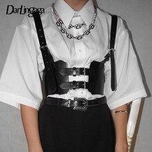 Darlingaga streetwear colete feminino de couro, preto, couro sintético, com fivela, ajustável, para o verão