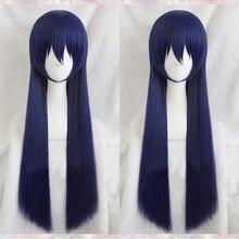 ¡Anime Love Live! ¡LoveLive! Sonoda Umi Peluca de pelo azul mezclado de 80cm de largo, resistente al calor, disfraz de Cosplay + gorro de peluca gratis