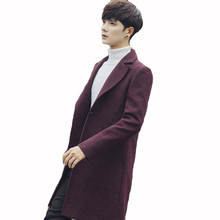 New Winter Men's Wool & Blends Men's Long Section Coat Casual Turn-down Collar Slim Fit Mens Winter Parkas Trench Coat Size 5XL