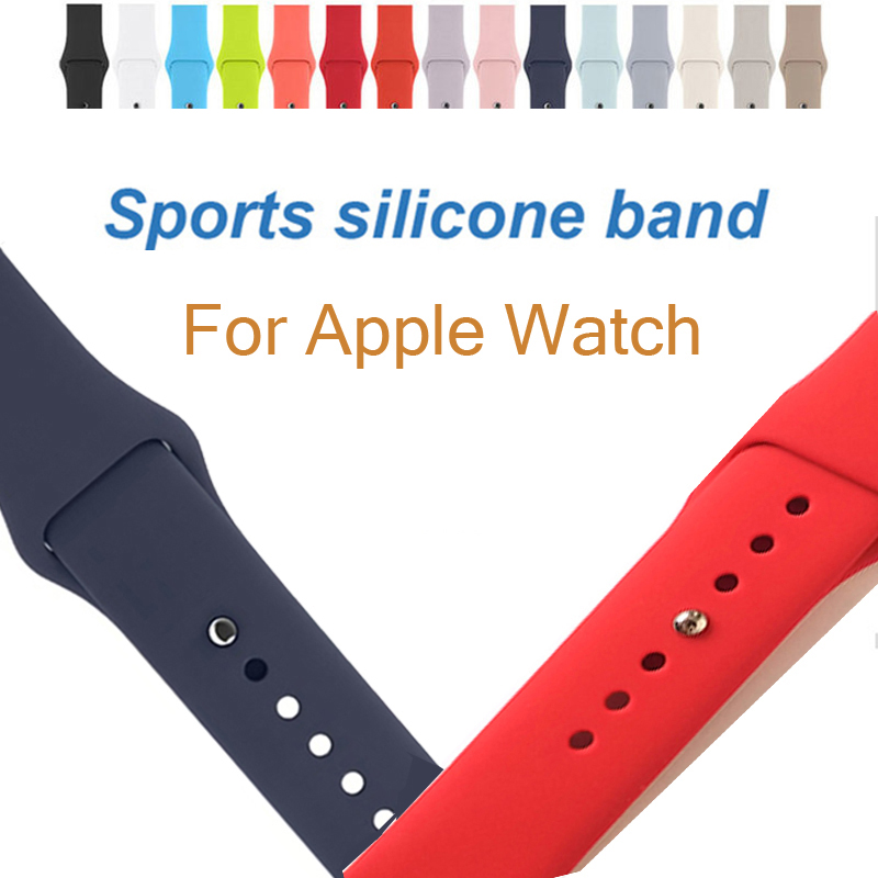 JANSIN Sport silicone Band For Apple watch Series 3 / 2 /1 watchband Replace Bracelet strap for apple watch band 42mm 38mm jansin 22mm watchband for garmin fenix 5 easy fit silicone replacement band sports silicone wristband for forerunner 935 gps