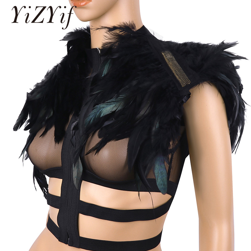 YiZYiF Women Cape Shawl Ladies Gothic Real Feather Cape Shawl Scapular Iridescent Epaulet Shrug Shoulder Wrap Halloween Costumes