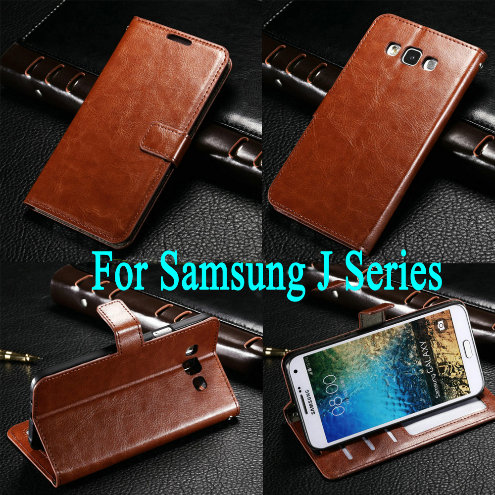 Luxury Retro Leather Wallet Flip Cover case For Samsung Galaxy J1 J2 J3 J5 J7 2015 2016  ...