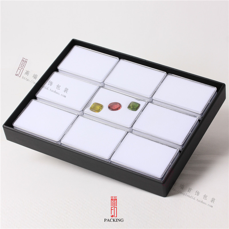 9ps/Tray 8.5*6*2.5mm Diamond Display Plastic Transp Box the Tray include 9pcs Gem cases Black and white Interior shipping boxes