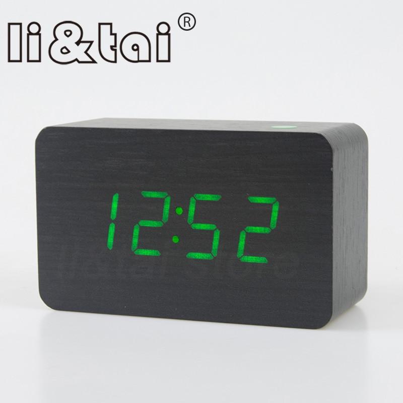 Wooden Clock LED Display Alarms Time Temperature Sound Control Adjust Brightness