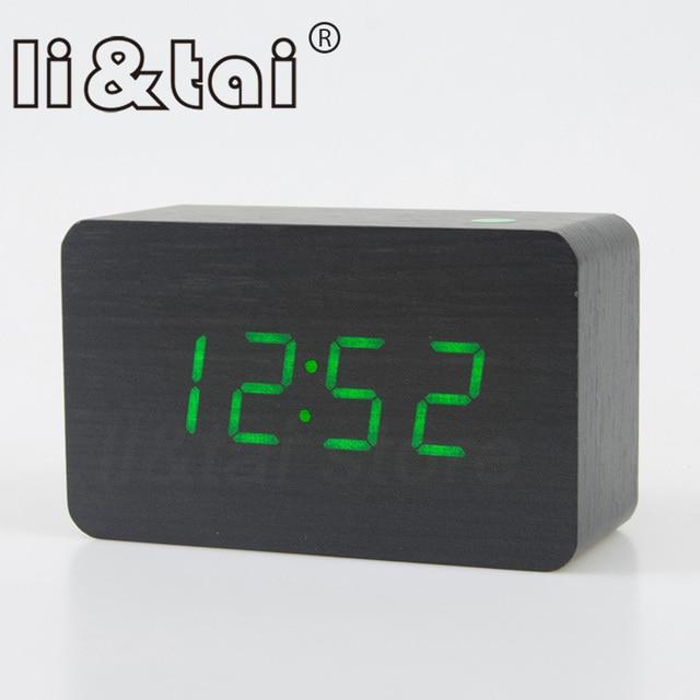 13b53217f6d Wooden LED Alarm Clock with Temperature Sounds Control Calendar LED Display  Electronic Desktop Digital Table Clocks