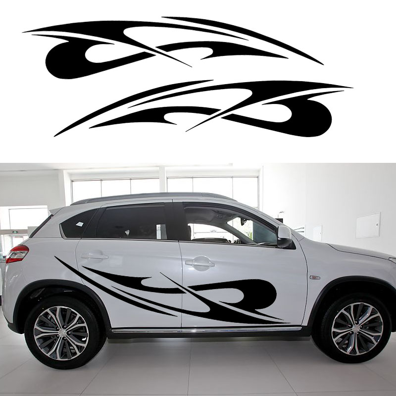 car styling 2 X Cross Bow Beautiful Abstract Stripes Art Car Stickers for Camper Van RV SUV Trailer Car Styling Vinyl Decal Jdm