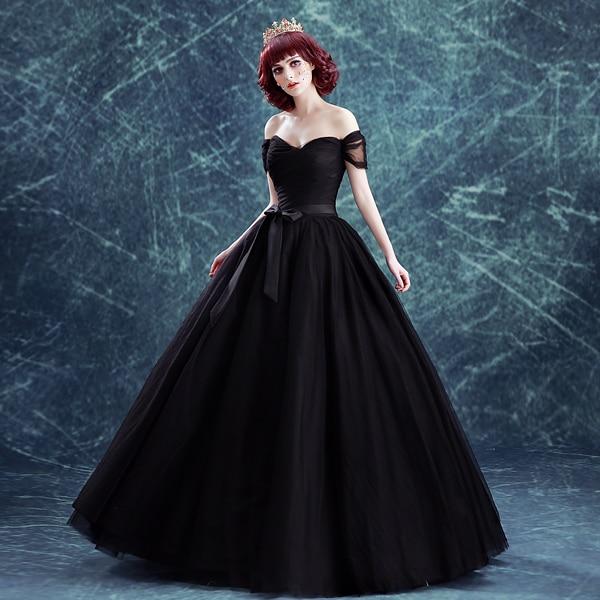 Black Designer Wedding Gowns: Plain Black Veil Ball Gown Bowknot Waist Long Medieval