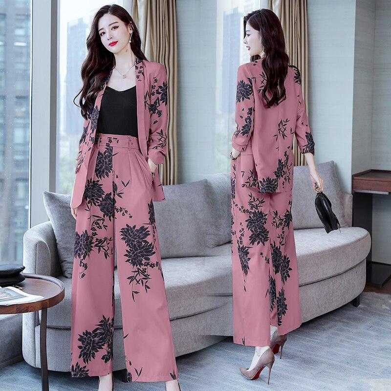 YASUGUOJI New 2019 Spring Fashion Floral Print Pants Suits Elegant Woman Wide-leg Trouser Suits Set 2 Pieces Pantsuit Women 4