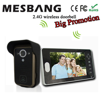 2016 New Black Color 2 4G Wireless Video Doorbell 7 Inch Monitor No Need Cable Easy