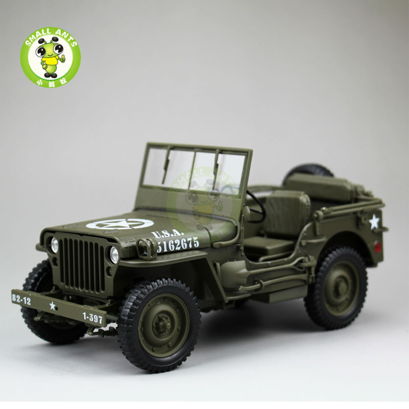 1/18 1/4 Ton US ARMY WILLYS JEEP TOP DOWN Diecast Car Model Toys Welly Army Green willys jeep 1 10