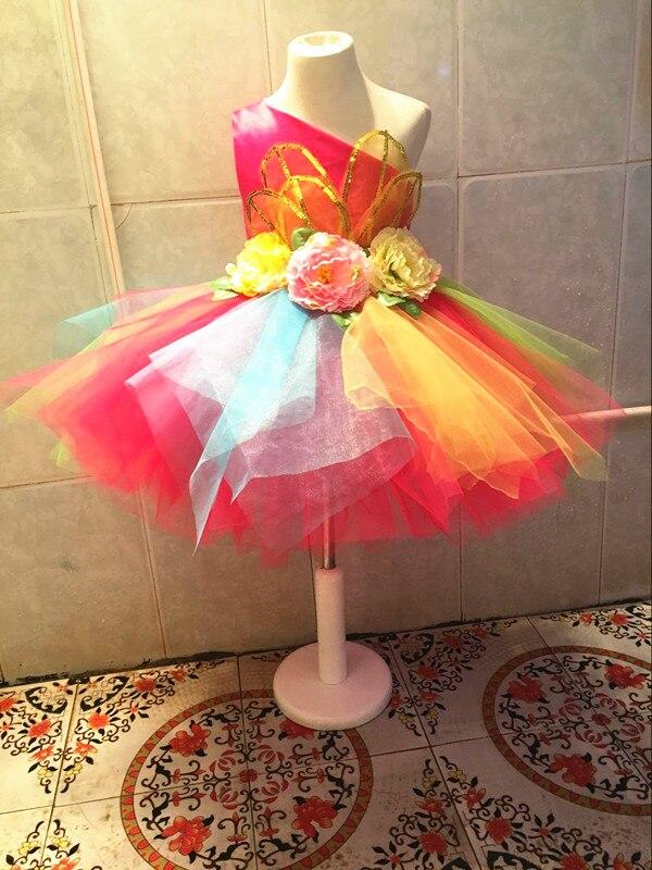 Платье для танцев сальсы с цветными цветами для девочек; пикантный современный танцевальный костюм для девочек; Одежда для танцев; детская одежда для соревнований - Цвет: Родо