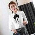 Mujeres blusas 2017 primavera Señora de la Oficina Camisetas blanco Moda Mujeres Blusa Tamaño S-4XL Turn Down Collar Dulce Dama Camisas Blancas