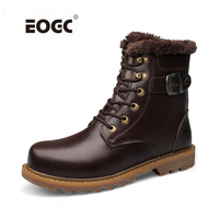 Full Genuine Leather Men Boots Top Quality Cow Leather Winter Shoes Handmade Super Warm Men Ankle