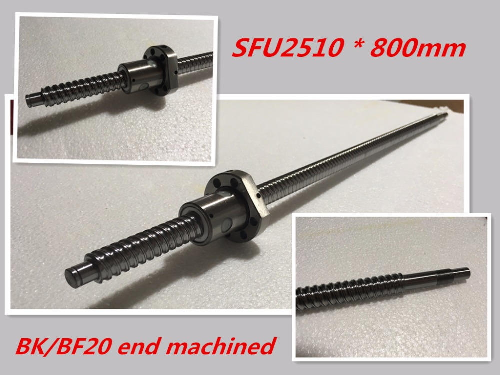 1pc 25mm Ball Screw Rolled C7 ballscrew SFU2510 800mm BK20 BF20 end processing 1pc SFU2510 Ballscrew