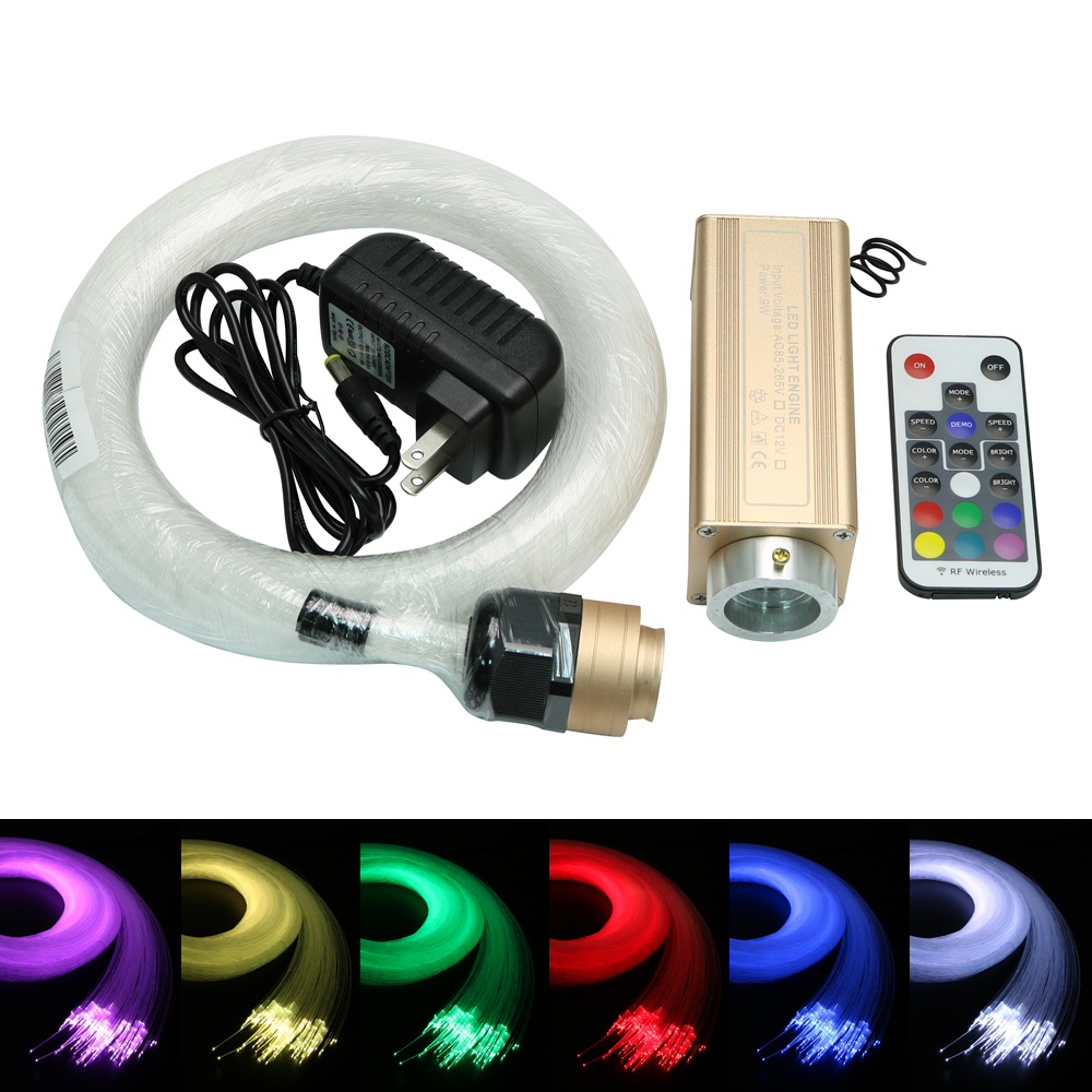 NEW 9W LED RGB fiber optic Star Ceiling Kit light 0.75mm Optical Fiber with 18key Remote Control Illuminator Decoration Lights car use 6w rgb fiber optic star ceiling light kit 1 0mm 120pcs 2m 18key rf optical fiber light engines