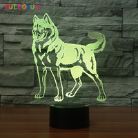 Huskie Night Lights Kids Toy 3D Lamp Cute Christmas Present LED Lights Colorful USB Touch Night