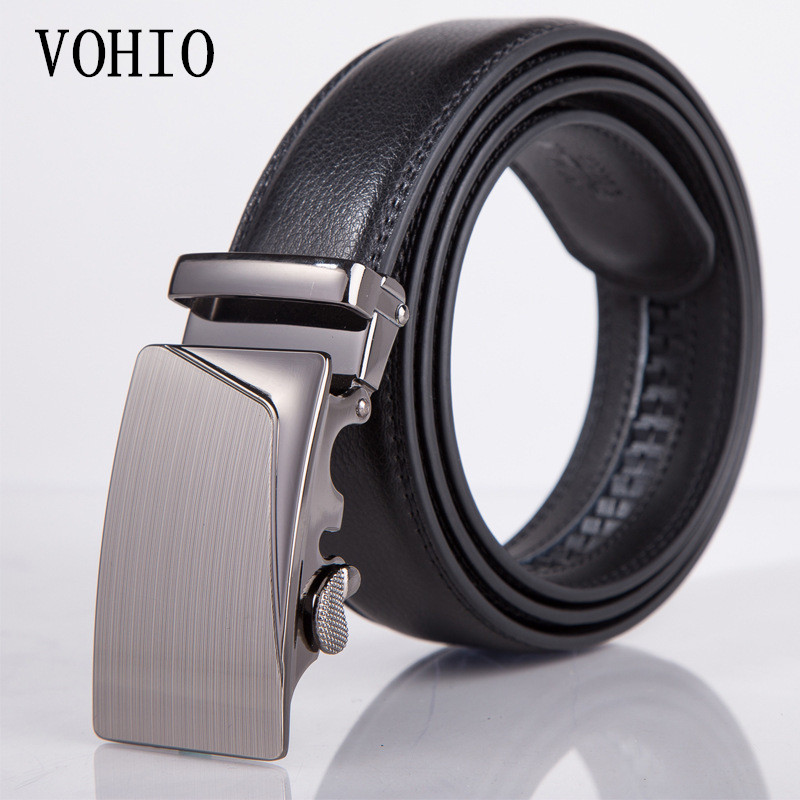 New 105-130cm black mens belt 40-52inch fashion mens belts for men High quality PU automatic buckles Strap male for Jeans brand