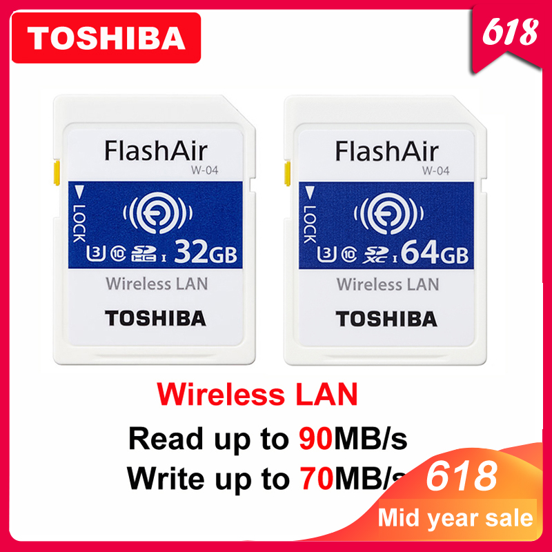 TOSHIBA Flash Air W 04 Memory Card 32GB 64GB WIFI SD Card 90MB/s Wireless LAN Memory Card Tarjeta sd WIFI Carte SD For Camera-in Memory Cards from Computer & Office