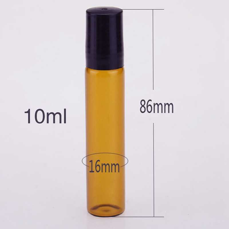 14e790a1f8fb 1pc 3ML5ML10ML Amber Roll On Roller Bottle For Essential Oils Refillable  Perfume Bottle Deodorant Container With Steel Ball Head