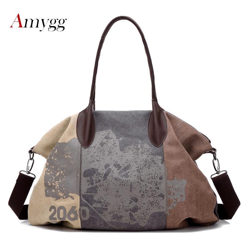 Canvas Bag Handbag Large Patchwork Tote Bag Hipster Classic Hobos Vintage Shoulder Travel Bag
