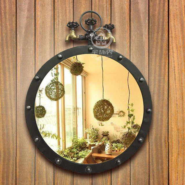 Metal wall mirror loft style round mirror decorative mirror M I2103 ...