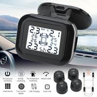 Car Tire Pressure Alarm Monitor System Display Intelligent Temperature Warning with 4 sensors BAR LCD Display Dropshipping