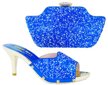 Italian Latest African Shoes And Bag Set For Party Fashion Women Sandal With Bags Set With Rhinestones In HS001 Royal Blue