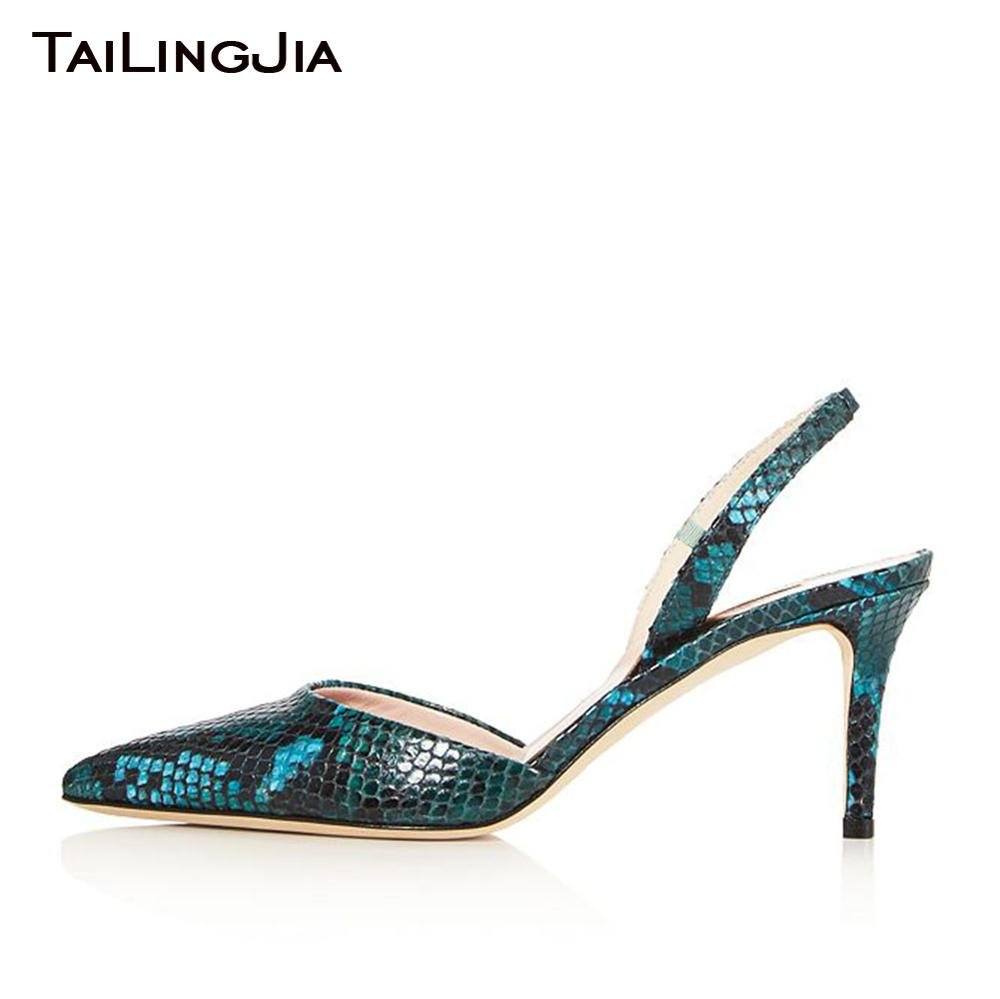 Low Heel Pointed Toe Woman Satin Pumps Women Snake Green Shoes 9 cm Comfy Embossed Pu Leather Shoe
