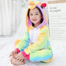 Купить с кэшбэком 2-12Y Unicorn Pajamas Girls Boys Children Flannel Animal Pajamas Kid Clothes Pegasus Pyjamas Romper Sleepwear Infantil Pijamas