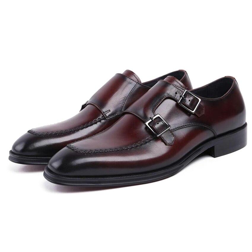 Hombres Formal Zapatos Cuero Nuevo Doble Hombre Auténtico Calzado Monje Pie Dedo Ymx208 Correas Del Vintage marrón Redonda Boda Negro Para t4fqp