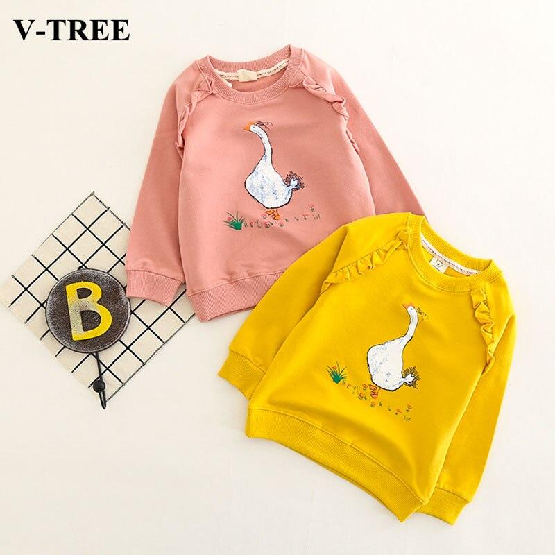V-TREE Girls T Shirt Cartoon Tops For Children Long Sleeve Girl T-shirt Spring Autumn Child Sweatshirt Kids Cotton Clothing