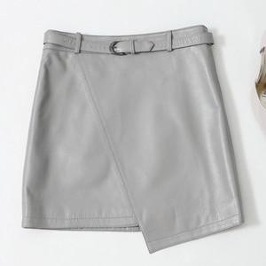 Image 1 - 2019 חדש עור כבש חצאית גבוהה מותן חצאית J14