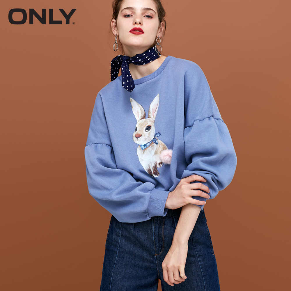 ONLY  womens' autumn new plus velvet sweet bunny lantern sleeve sweatshirt Loose and comfortable hoodie|11839S539