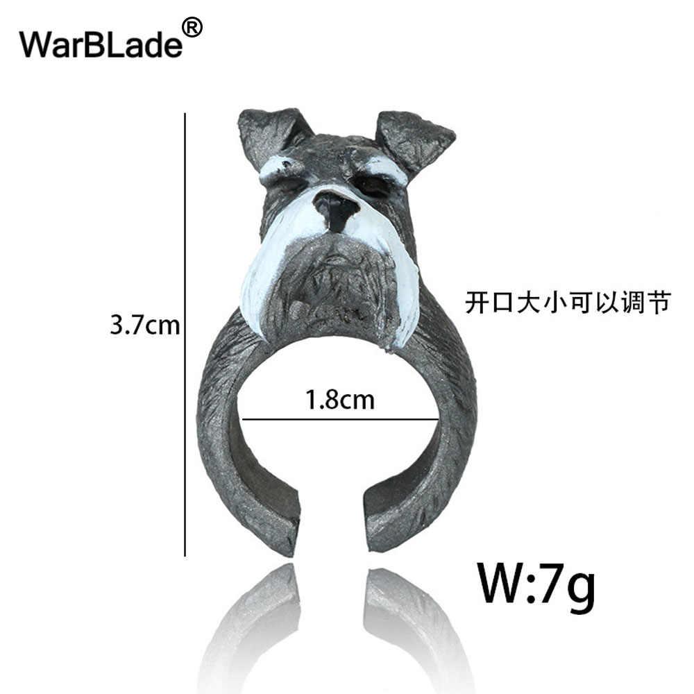 Warblade Hot Bán Hàng Đáng Yêu Hình Heo Hồng Nhẫn 3D Động Vật Ngón Tay Nhẫn Dễ Thương Bulldog Chó Mèo Hổ Thỏ Gấu Trúc Hoạt Hình Nhẫn dành Cho Nữ