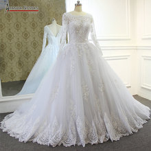 Amanda Chen Long Sleeve V Back Ball Gown Real Wedding Dress