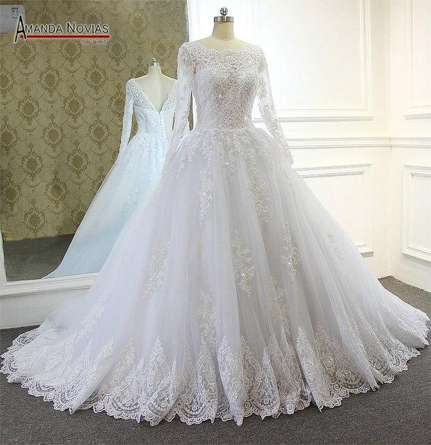 Por Long Sleeve V Back Ball Gown Real Wedding Dress Amanda Novias 2017 Vestido De Noiva