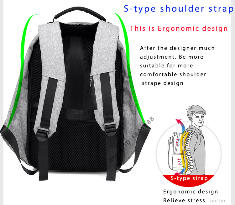 Third Generation USB Charge Anti Theft Backpack 15inch Laptop Backpacks Fashion Bags Bagpack Blue 15inch 4