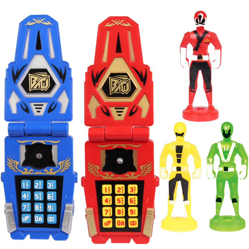 Dinosaur Rangers Morpher Mobile Phone Model With Action Figures Sound Light Early Education Toy For Children