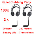 Professional Silent Disco compete system wireless headphones - Quiet Clubbing Party Bundle (100 Headphones + 2 Transmitters)