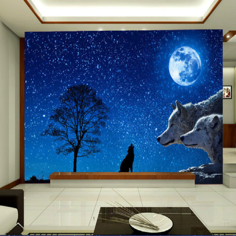 3D Nonwovens Wallpaper for Walls 3d Decorative Vinyl Wall Paper Background Star Wolves simple Mural Wallpapers Home Improvement 3d wall paper rolls wallpaper for walls 3d murals hd black and white tree simple 3d tv background wallpapers home improvement