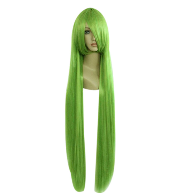 MCOSER The 100cm Long Straight Synthetic Green Two Color Cosplay Costume Wig 100% High Temperature Fiber Hair WIG-026