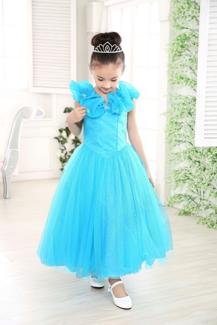 2017 New modern cosplay fancy dress girl birthday party cinderella ...