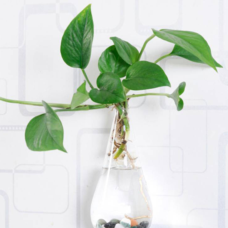 Christmas Terrarium Glass Flower Vase 10*18cm Wall Water Drop Tabletop Vases Home Wedding Decoration Transparent Ваза