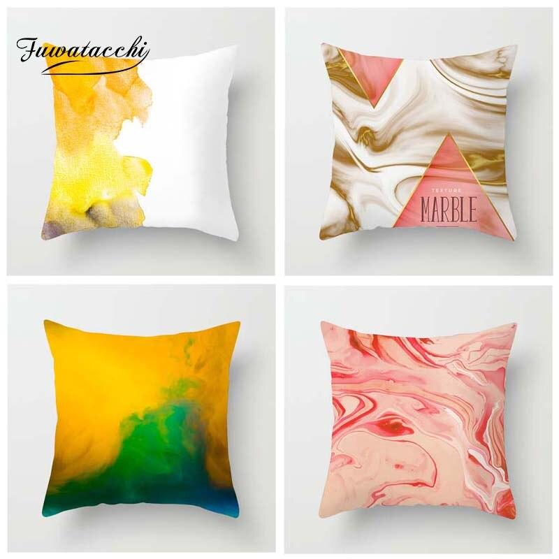 Fuwatacchi dégradé peinture imprimé housse de coussin Multi couleur peinture taie d'oreiller océan taie d'oreiller décorative pour canapé maison