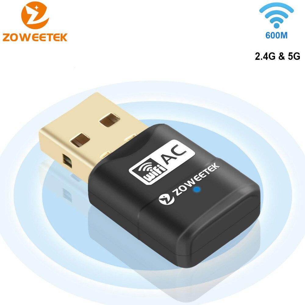 Zoweetek Mini Sans Fil WiFi Adaptateur USB 2.0 Double Bande LAN Ethernet Récepteur Dongle 5G 433 Mbps 2.4G 150 Mbps 802.11AC Carte Réseau