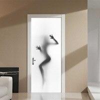 3D Beauty Silhouette Background Door Stickers Bathroom Bedroom Wall Stickers Home Decor Art Pegatinas De Pared