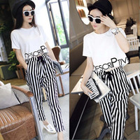 Costumes For Women Two Piece Set Letters Print Short Sleeves T Shirt Black White Stripes Nine