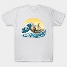 2017 Brand Latest One Piece Cartoon Men T Shirt Monkey D. Luffy Going Merry By Hokusai Print T-Shirt Modal White Cool Tee Tops