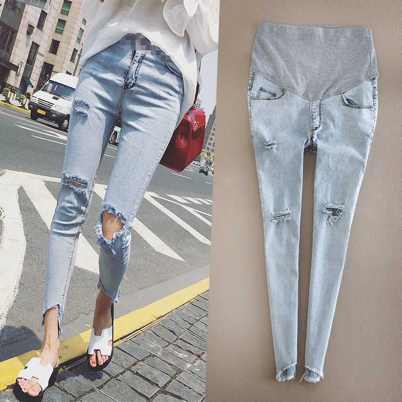Maternity Jeans Pants Hole Skinny Lady Denim Leggings Pregnant Trousers Ankle-length Nursing Prop Belly Stretchy Jeans Pregnancy