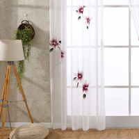 Chiffon Tulle Curtains for Living Room Decoration Pastoral Voile Kitchen Hand Painted Purple Floral Window Sheer